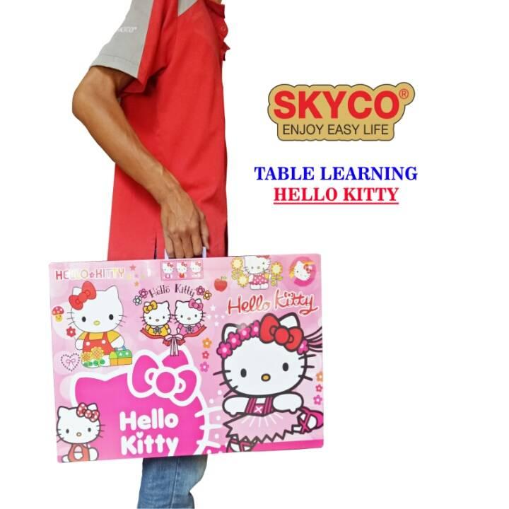 Meja Belajar Anak / Kids Table / Meja Belajar Lipat Motif Hello Kitty0