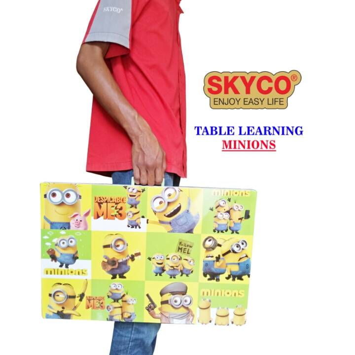 Meja Belajar Anak / Kids Table / Meja Belajar Lipat Motif Minions