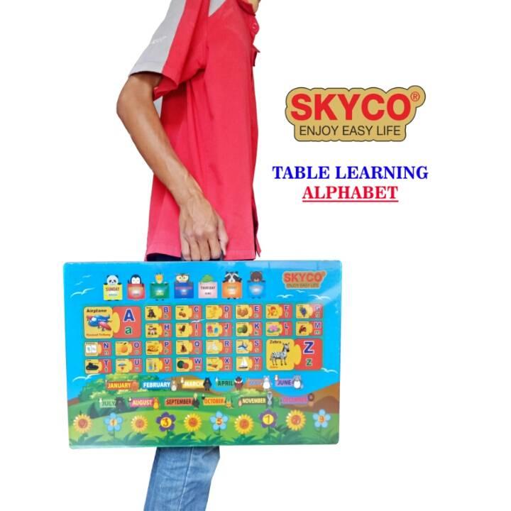 Meja Belajar Anak / Kids Table / Meja Belajar Lipat Motif Alphabet
