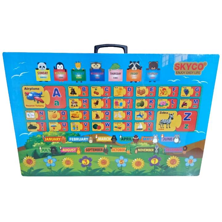 Meja Belajar Anak / Kids Table / Meja Belajar Lipat Motif Alphabet2