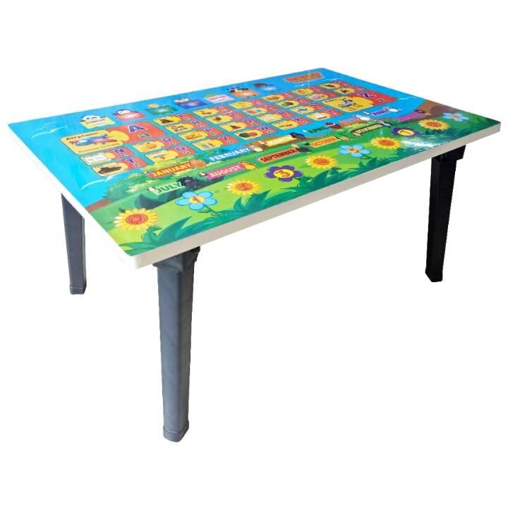 Meja Belajar Anak / Kids Table / Meja Belajar Lipat Motif Alphabet3