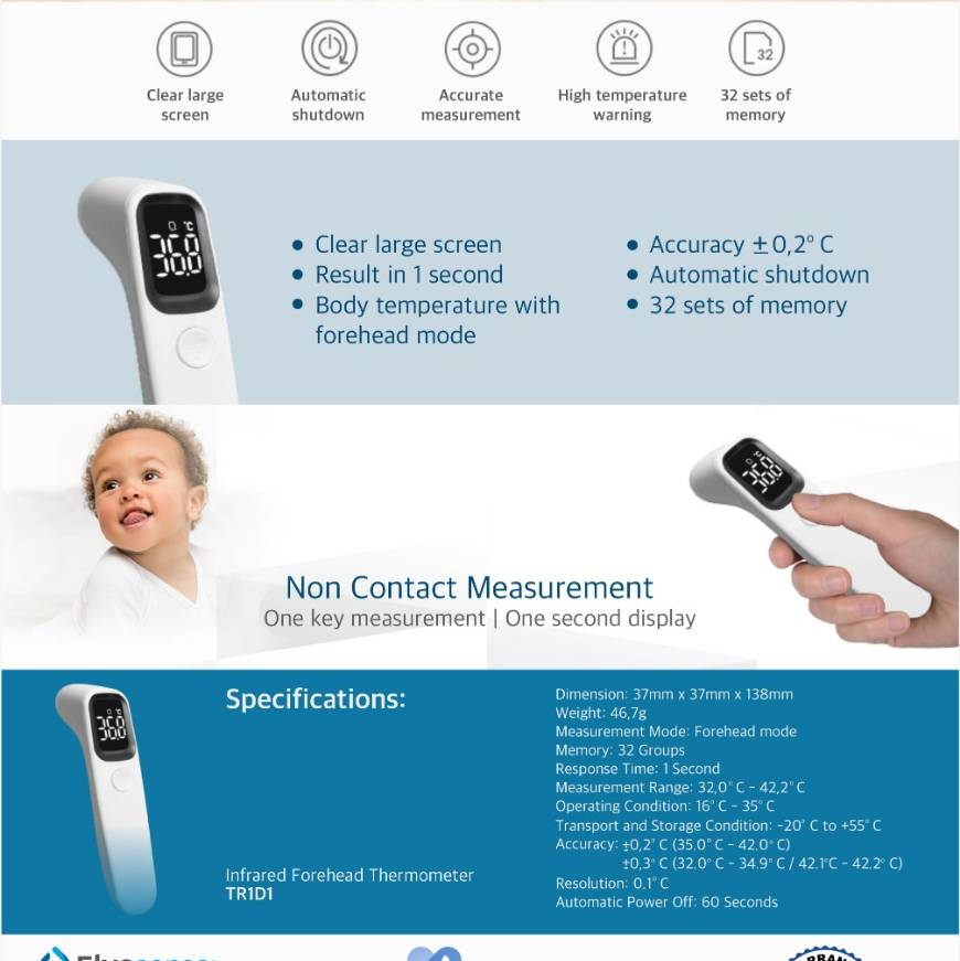 Thermometer Medical Infrared - Alicn One Year Warranty