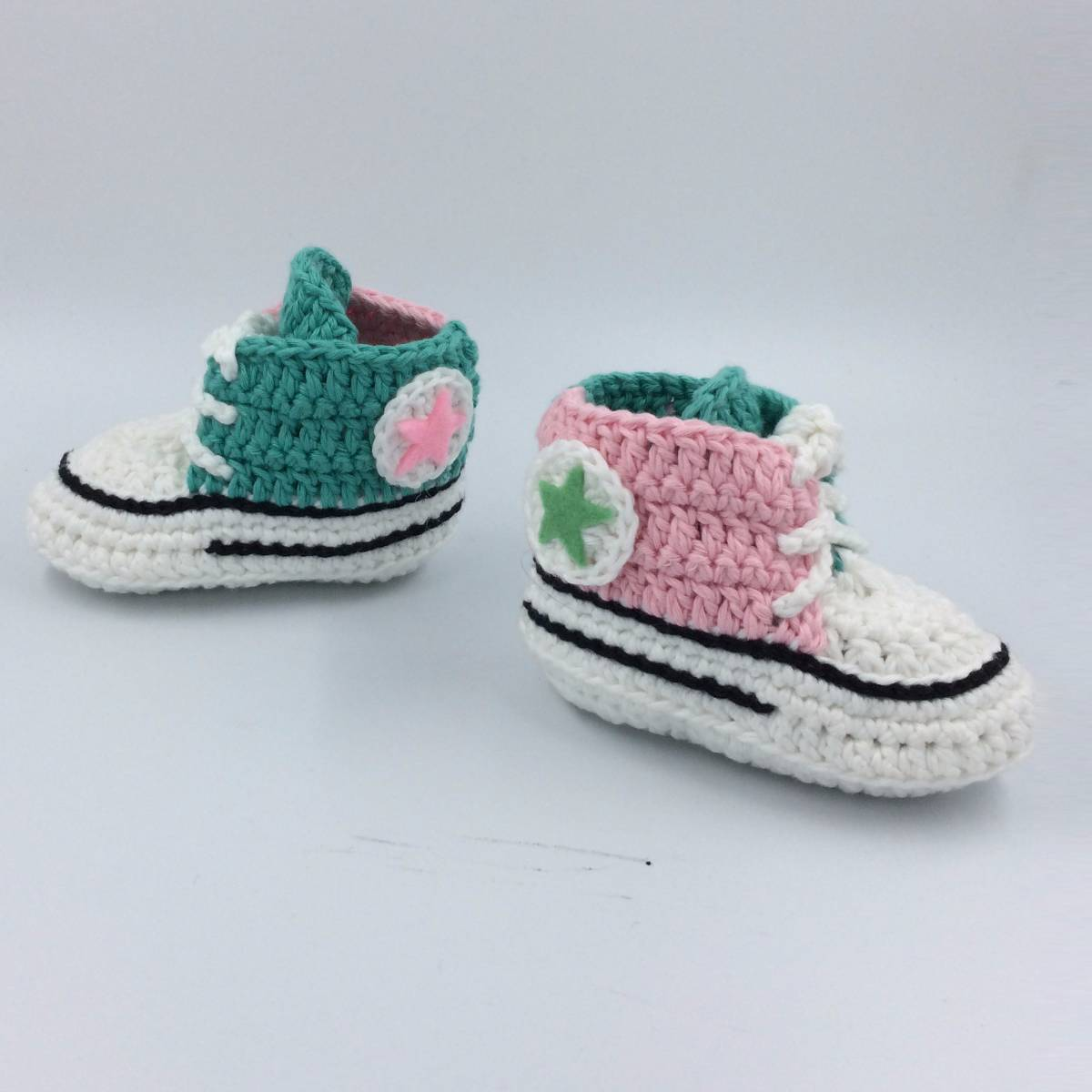 Cute Baby Shoe In Pink N Green Combination