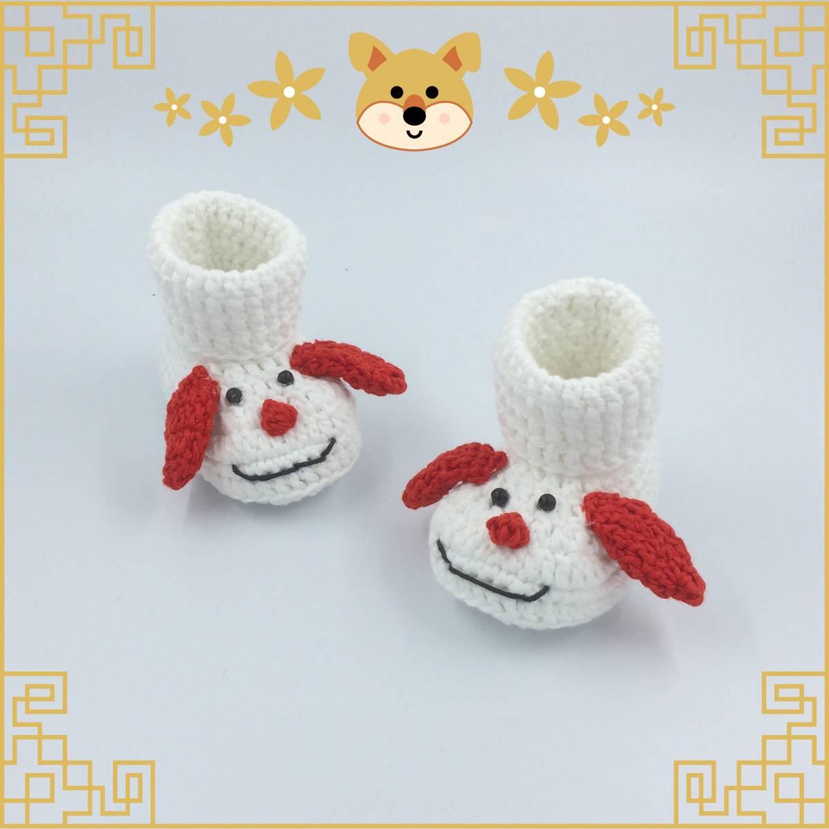 Sepatu Rajut Red N White Dog