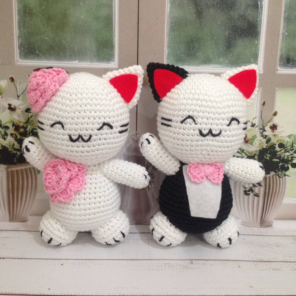 Boneka Rajut Kucing Couple