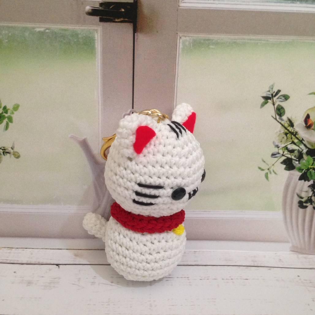 Gantungan Kunci Rajut Cat1