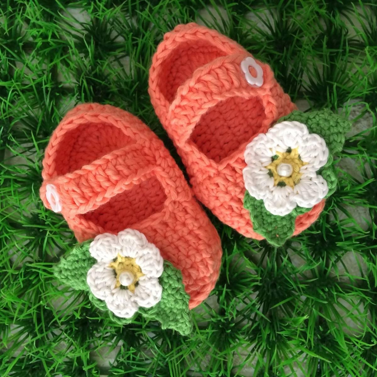 Sepatu Rajut Bunga Orange