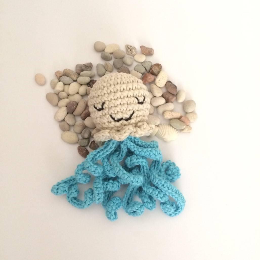 Boneka Gurita Rajut Blue