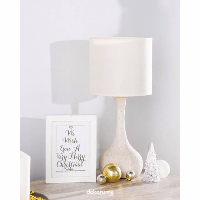 Lampu Meja Table Lamp Grey Fabric Shade1