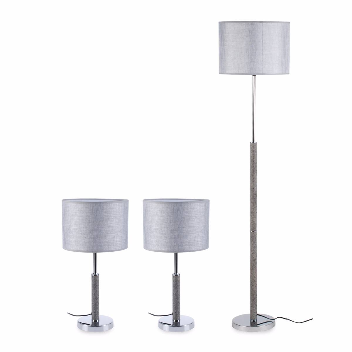 Combo Set (2 Table Lamp + 1 Floor Lamp) Grey 3+dl-cm4033-gr-vg