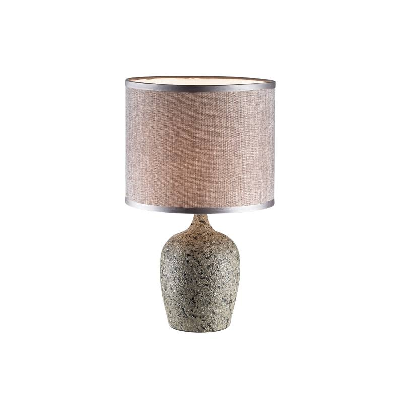 Lampu Meja Table Lamp Grey Fabric Shade 3+dl-pd7141-gr-vg