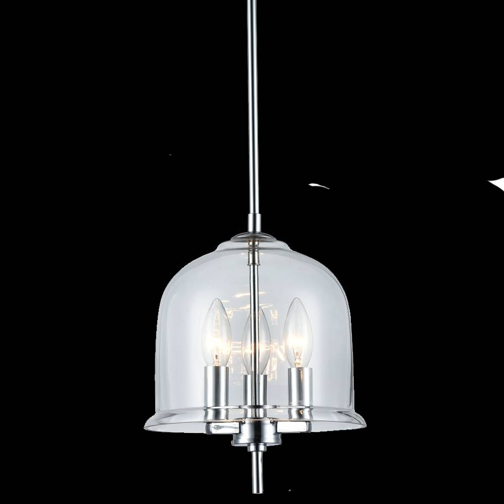 Lampu Gantung Pendant Lamp Steel Glass Polished Chrome Kai Samping Taft Led