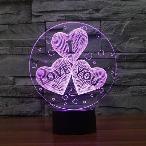 3d Led Illusion Lamp I Love You