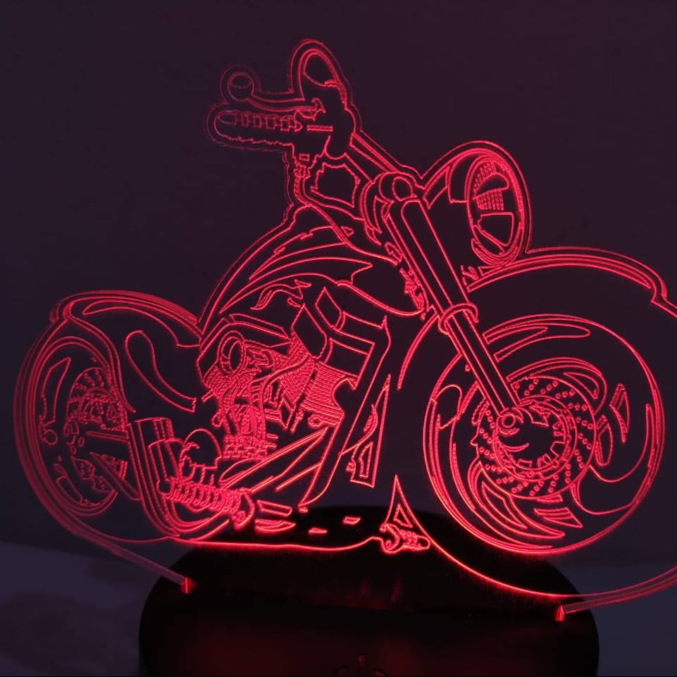 3d Led Illusion Lamp Harley Davidson1