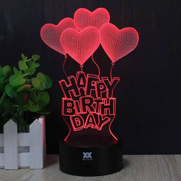 3d Illussion Happy Birthday Love Stories Led Decorative Lamp