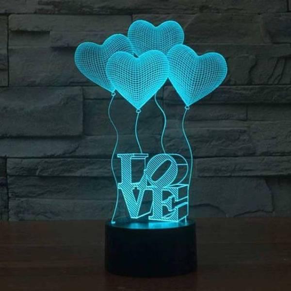 3d Led Illusion Lamp 4 Baloons Love1