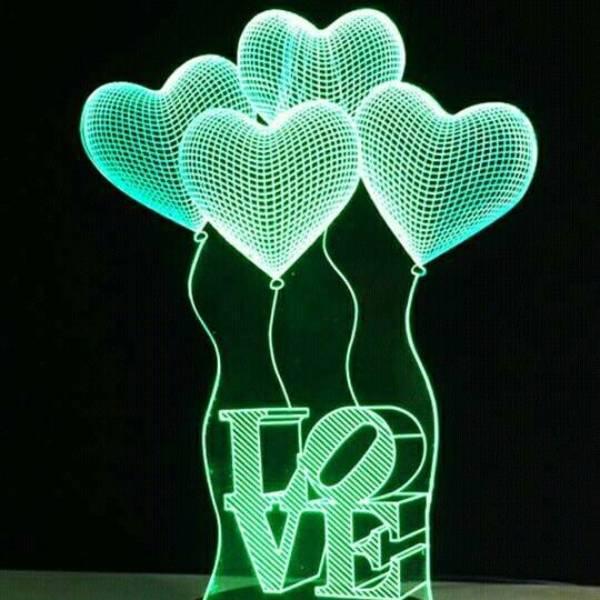 3d Led Illusion Lamp 4 Baloons Love2