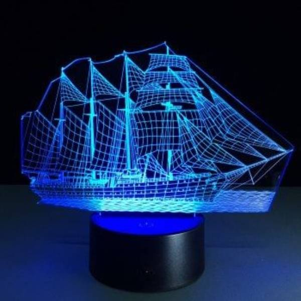 Lampu Meja 3d Led Illusion  Ship Lamp