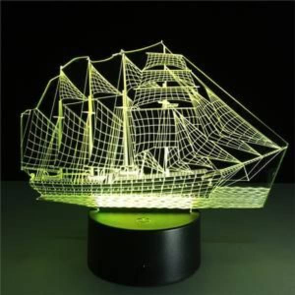 Lampu Meja 3d Led Illusion  Ship Lamp2
