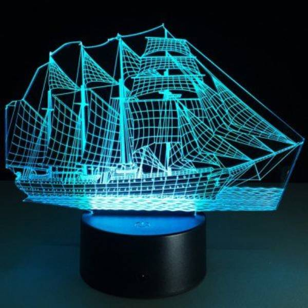 Lampu Meja 3d Led Illusion  Ship Lamp3
