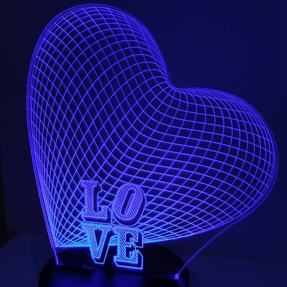 3d Led Illusion Lamp Love2