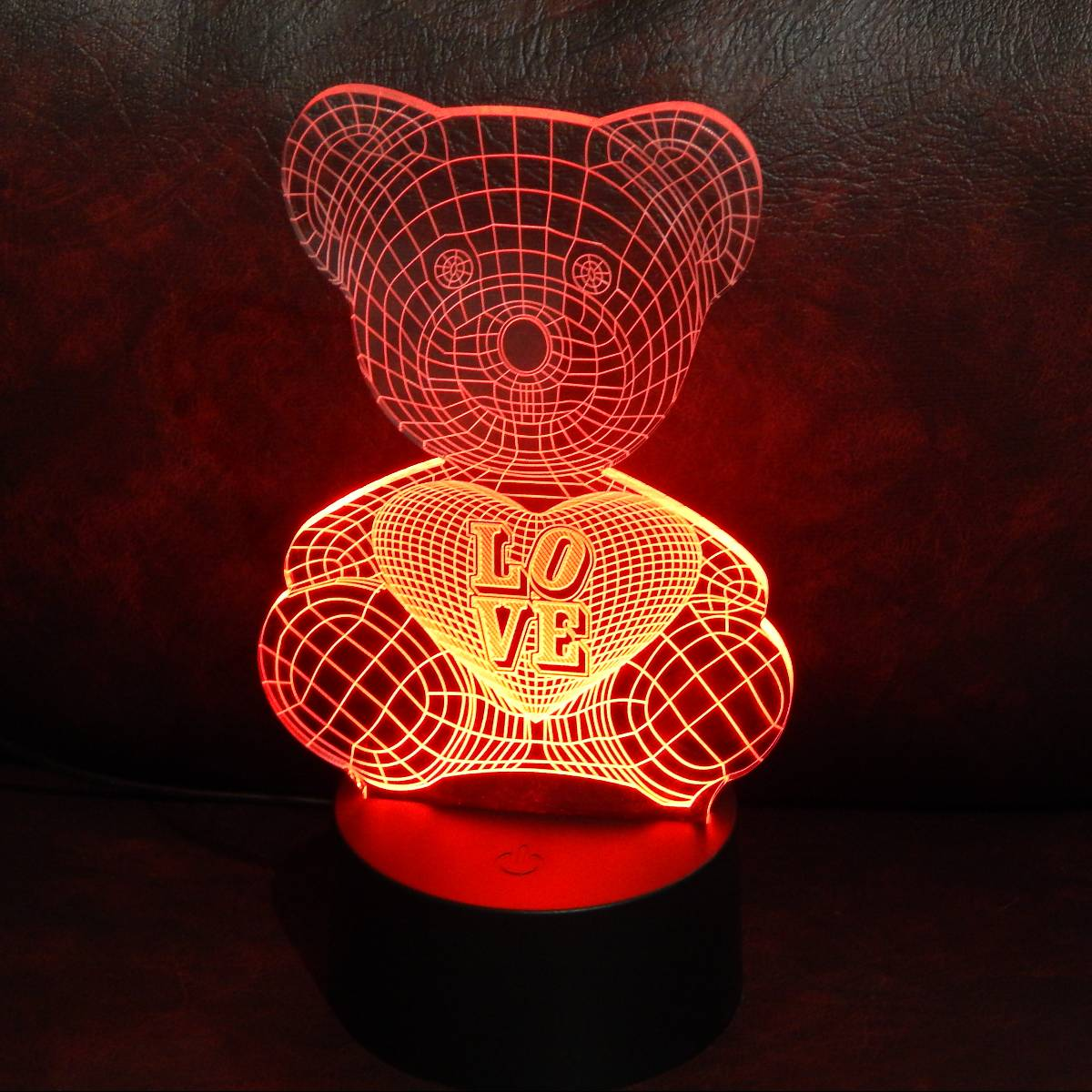LAMPU MEJA LED 3D LOVING BEAR2