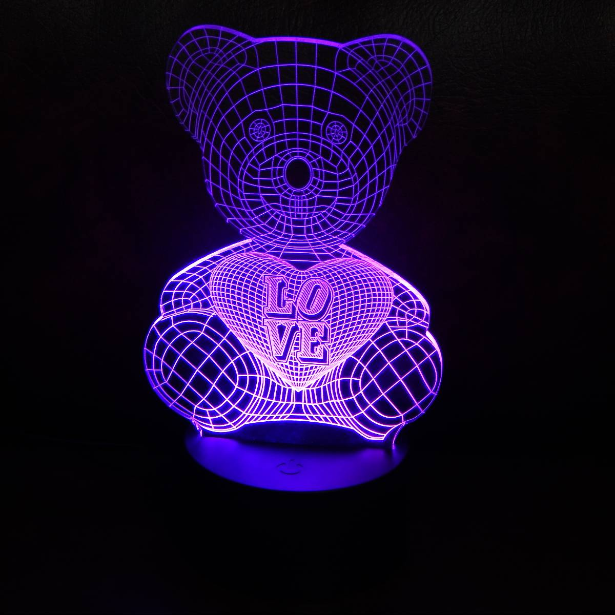 LAMPU MEJA LED 3D LOVING BEAR4