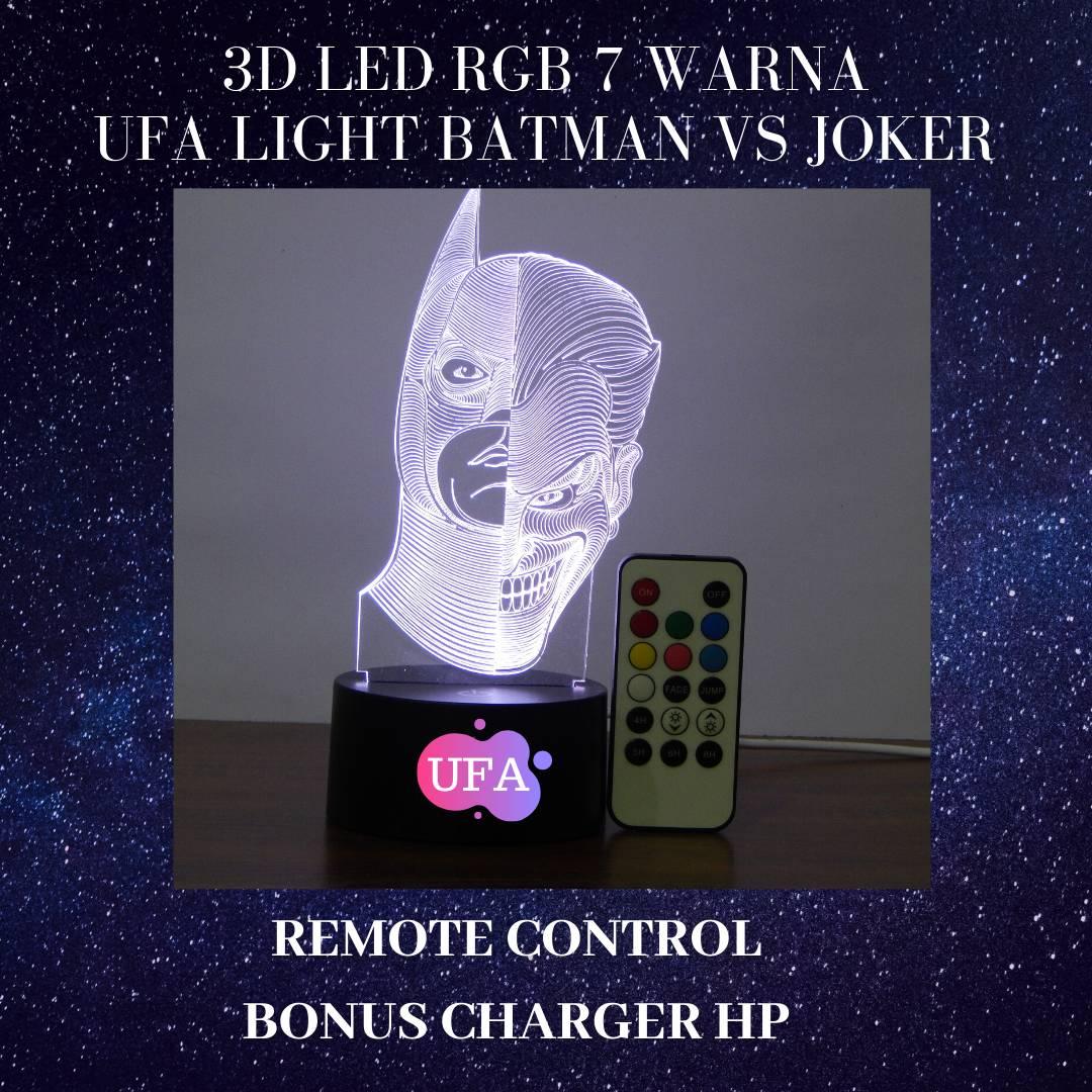 LAMPU TIDUR UFA LIGHT 3D LED RGB 7 WARNA BATMAN VS JOKER REMOTE3