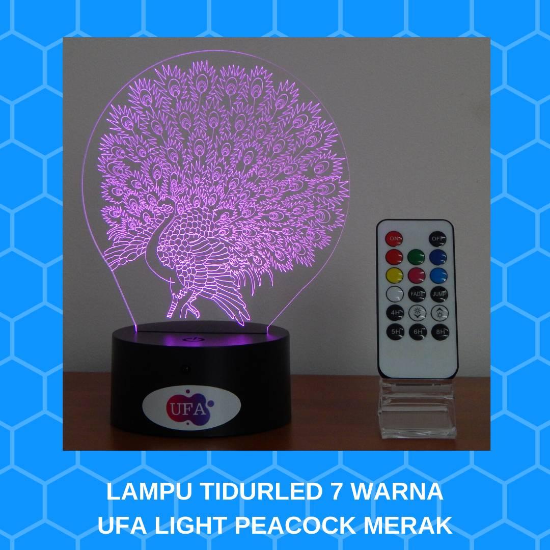 LAMPU TIDUR LED RGB 7 WARNA UFA LIGHT PEACOCK MERAK REMOTE