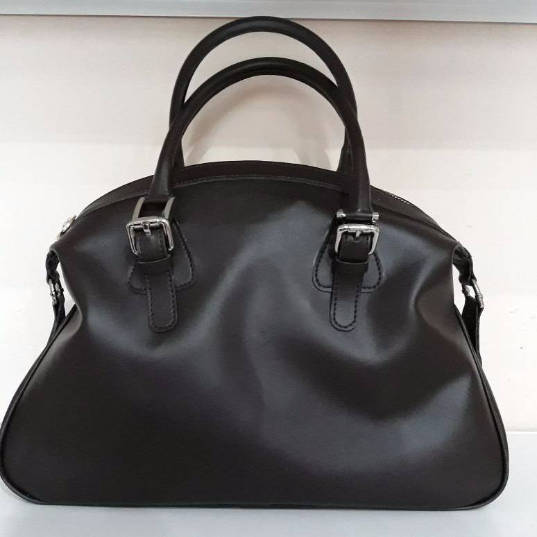 Black Lambskin Bowling Bag