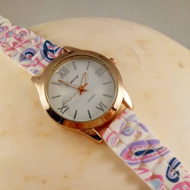 Jam Tangan Geneva Karet Ring Gold