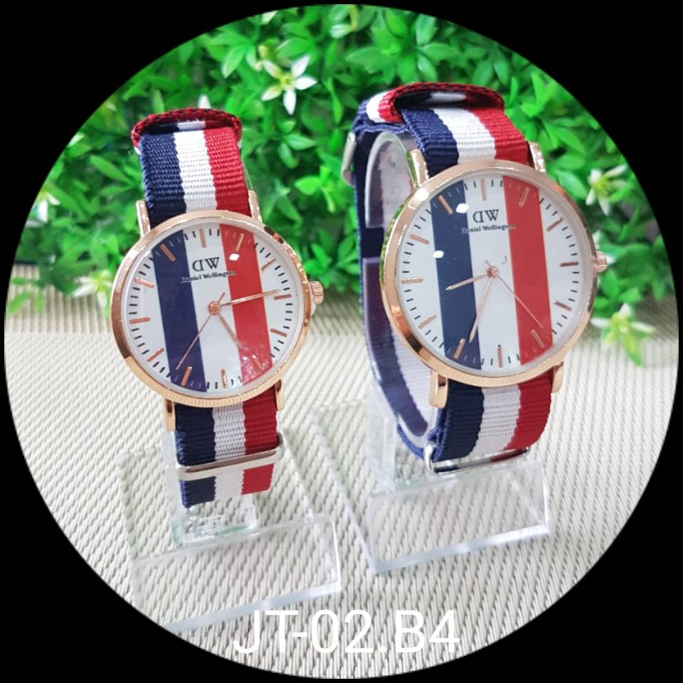 Jam Tangan Dw Motif - Besar - Dblue Red White