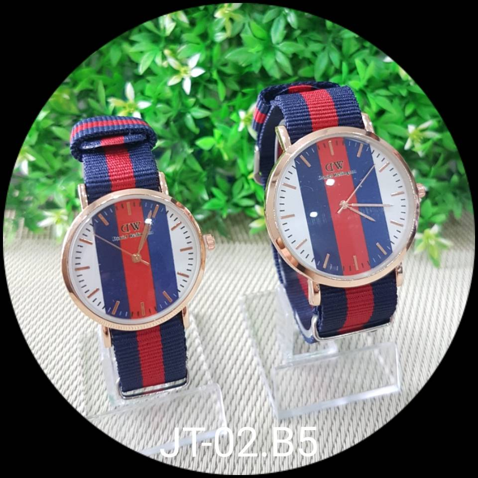 Jam Tangan Dw Motif - Besar - Dblue Red