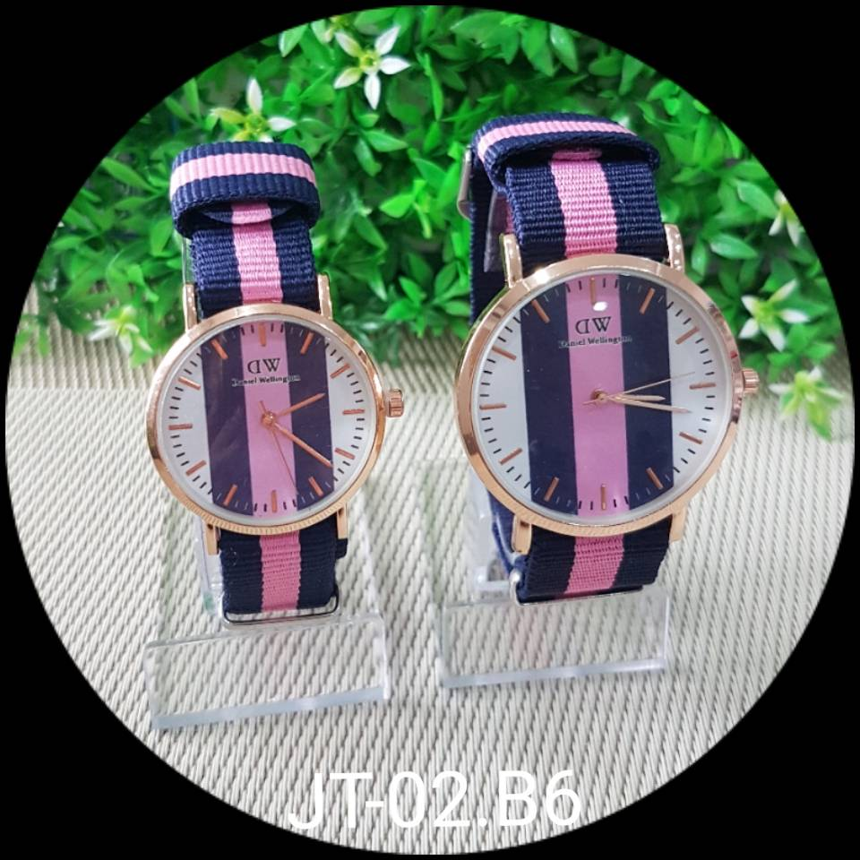 Jam Tangan Dw Motif - Kecil - Dblue Pink