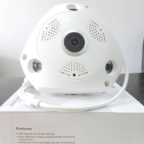 Kamera Cctv Ip Nirkabel 3d Fish Eye Panoramic 360 'Vr Cam 3mp