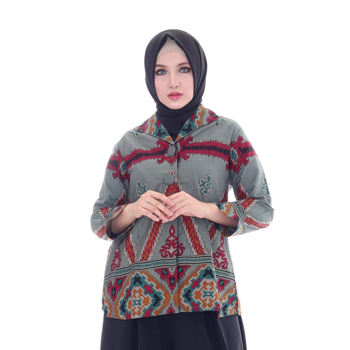 Maheswari Two Button Long Sleeve Blouse