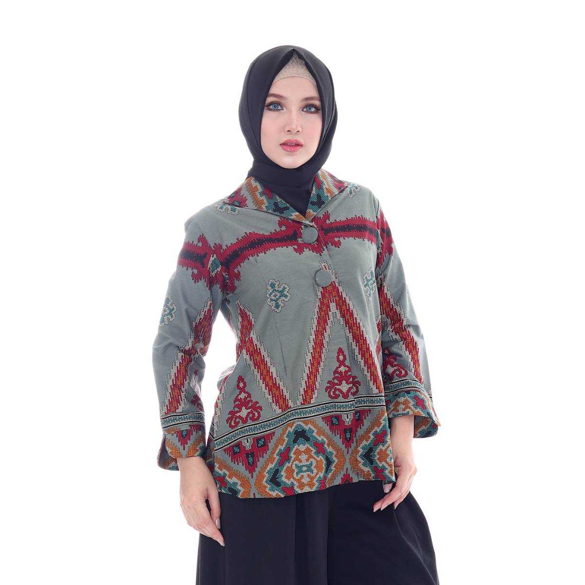 Maheswari Two Button Long Sleeve Blouse1