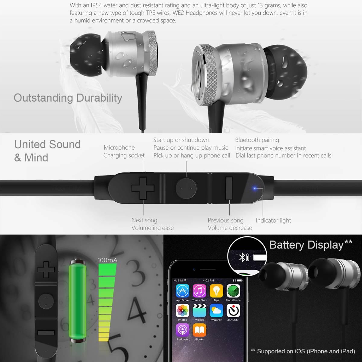 Jakcom WE2 Wearable Bluetooth Earphone Wireless Sport Headphones3