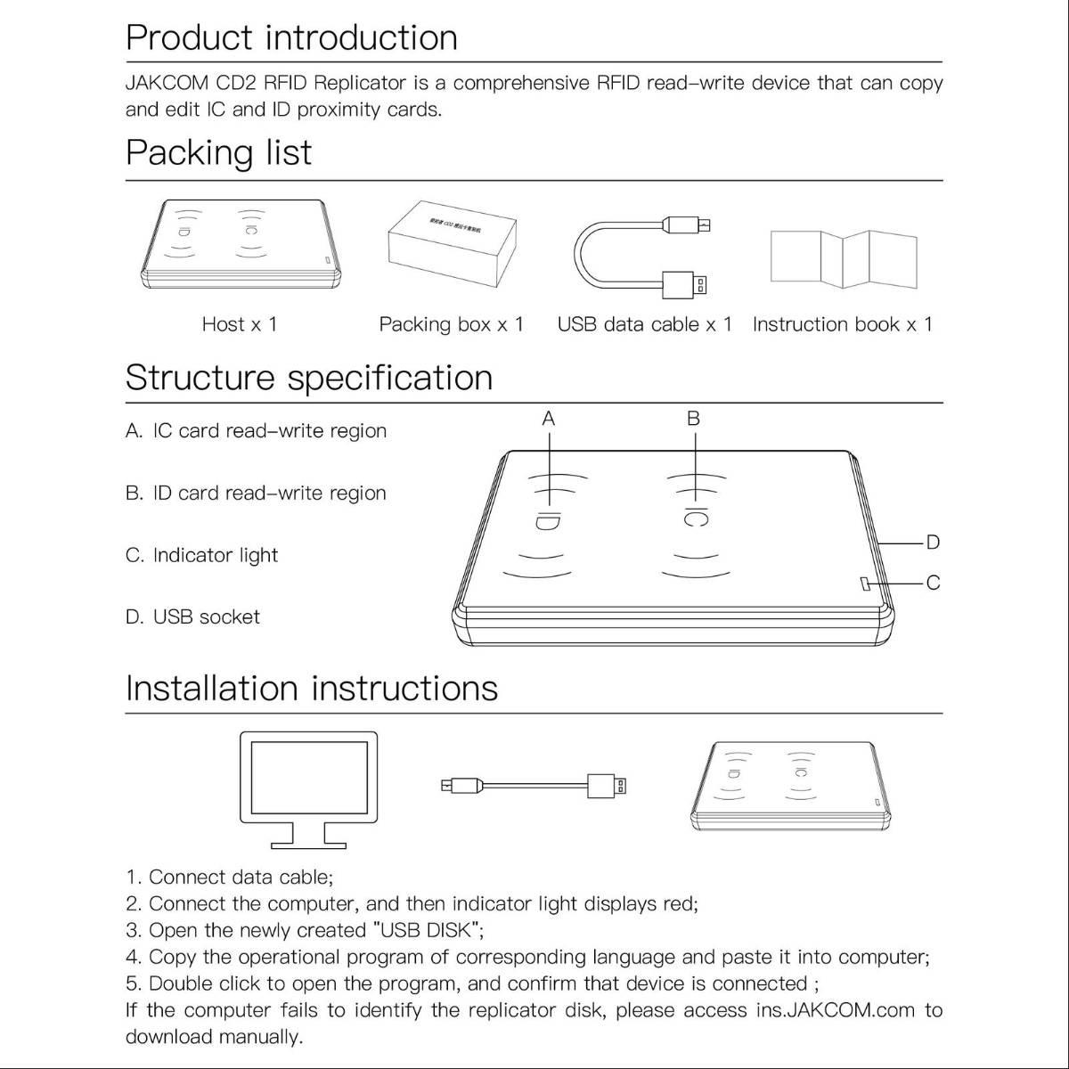 JAKCOM CD2 RFID NFC Replicator Access Card ID IC Duplicator 2 in 11