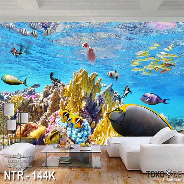 3D WALLPAPER CUSTOM  I WALLPAPER LAUT I STICKER UNDERWATER I MOTIF IKAN | NTR - 144K0