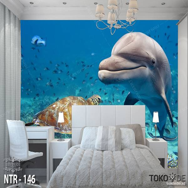 3D WALLPAPER CUSTOM  I WALLPAPER LAUT I STICKER UNDERWATER I MOTIF IKAN | NTR - 1460