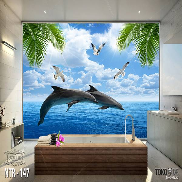 3D WALLPAPER CUSTOM  I WALLPAPER LAUT I STICKER UNDERWATER I MOTIF IKAN | NTR - 1470