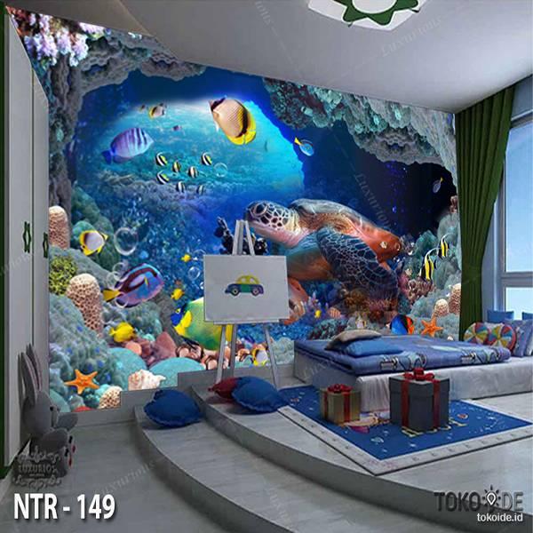 3D WALLPAPER CUSTOM  I WALLPAPER LAUT I STICKER UNDERWATER I MOTIF IKAN | NTR - 1490