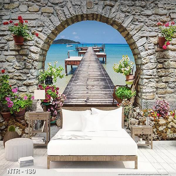 3D Custom Wallpaper Dinding | Wallpaper Pemandangan Pantai dr Jendela | NTR - 1300