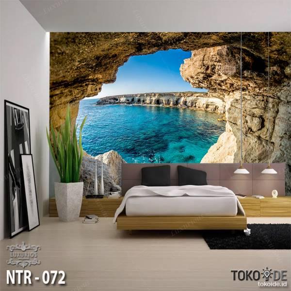 3D Custom Wallpaper Dinding | Wallpaper Pemandangan Pantai | Tebing | NTR - 0720