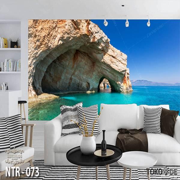 3D Custom Wallpaper Dinding | Wallpaper Pemandangan Pantai | Tebing | NTR - 0730