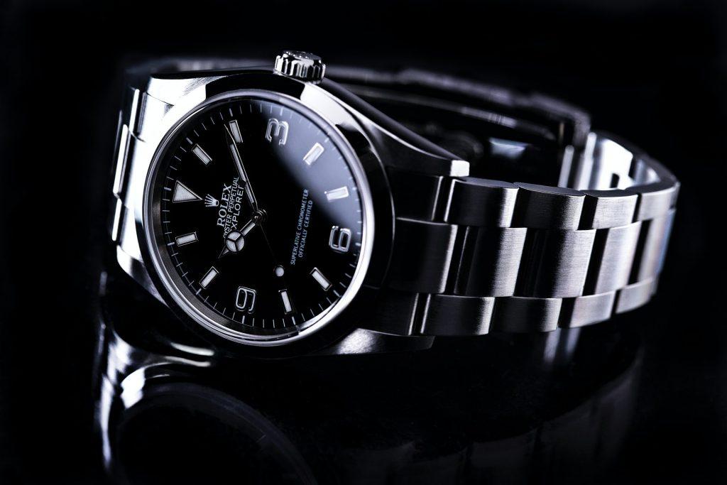 silver Rolex watch