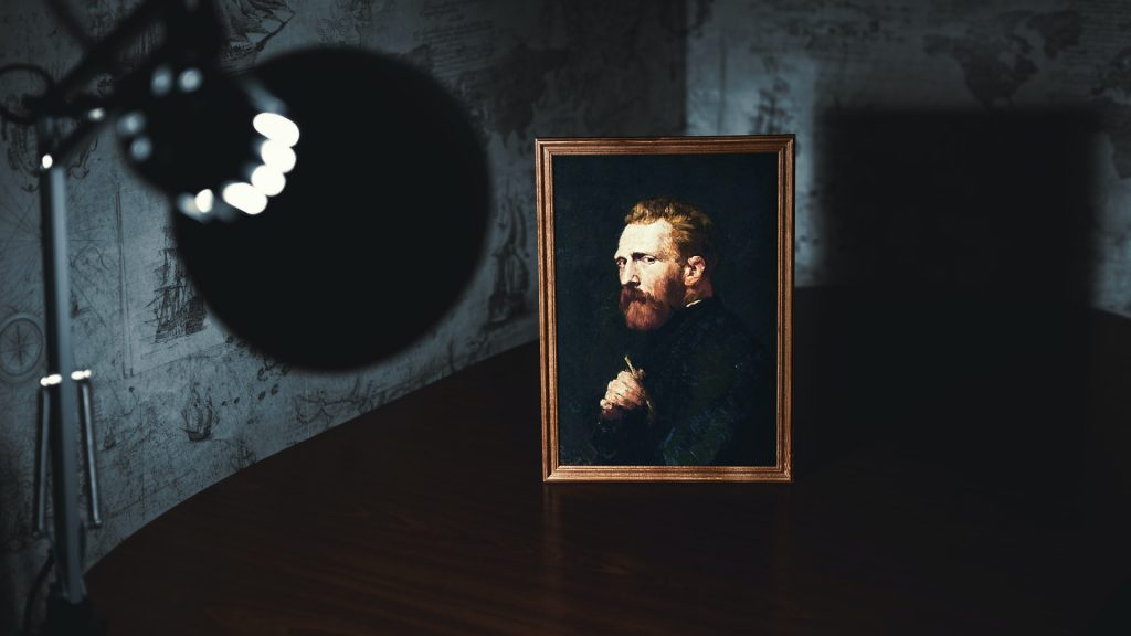Bearded man portrait and lamp