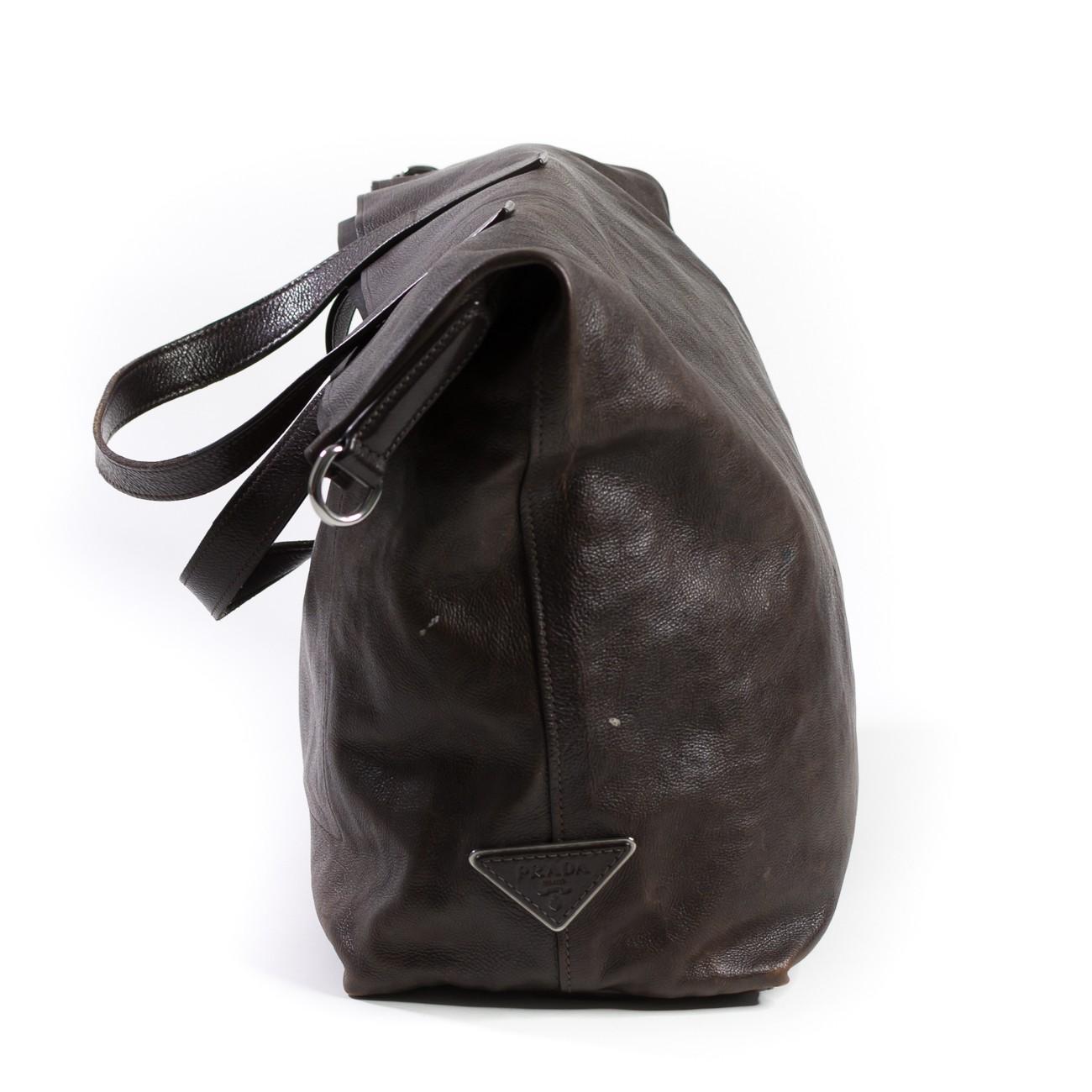 bd41aa02316e Prada Calfskin Dark Brown Leather Shoulder Bag