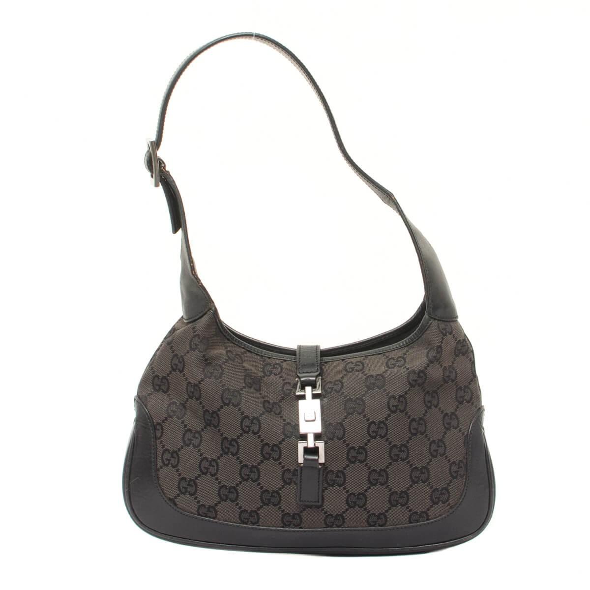 8f6341953 Jackie O Black Gg Monogram Canvas & Leather Hobo Bag